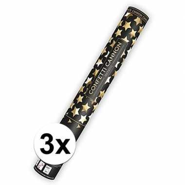 3x confetti kanon gouden sterren 40 cm
