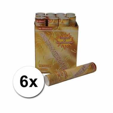 6 confetti kanonnen 30 cm goud