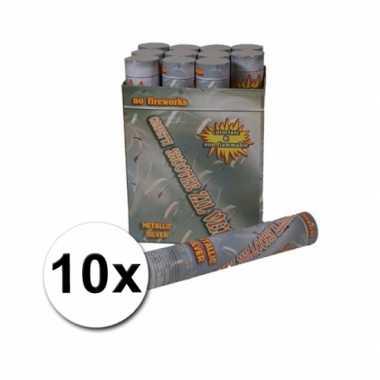 Confetti kanonnen 30 cm zilver 10x