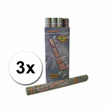 Confetti kanonnen 60 cm zilver 3x