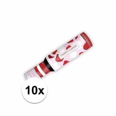 Set van 10x confetti kanon hartjes en rozenblaadjes